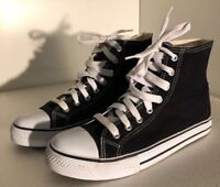 a861a3b572d370 High Top Like Chuck Taylors Spinner Canvas Basketball Shoes Black Men s  Size 9