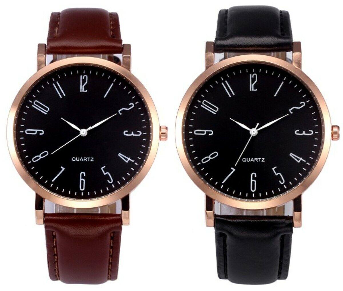 Armbanduhr Damen Leder Braun Uhr Schwarz Elegant Klassisch Gold Retro Quarz ♥