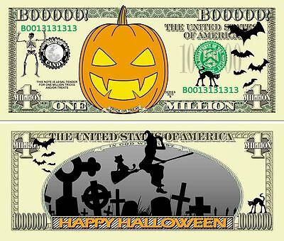 Halloween Pumpkin Million Dollar Bill Fake Funny Money Novelty Note +FREE SLEEVE](Fake Halloween Money)
