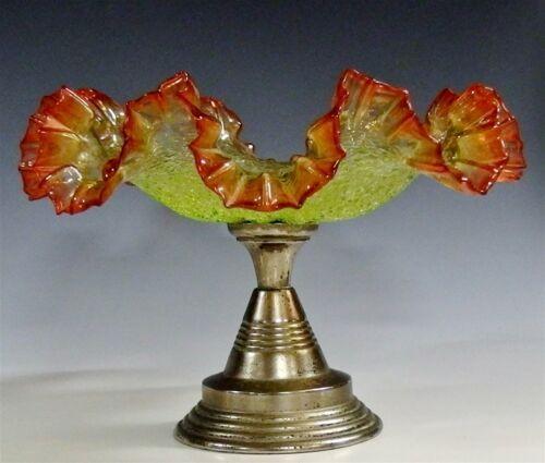 "Rare Ca.1870 Antique European Ruffled Vaseline Amberina Centerpiece Overshot 10"""