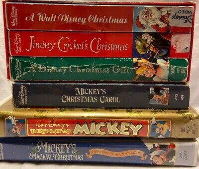 Walt Disney Christmas Vhs Lot Mickeys Carol Jiminy Crickets Gift Spirit Magical