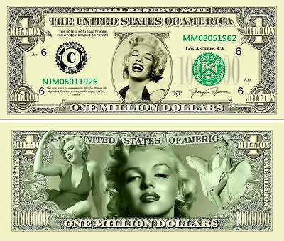1 set of 2 USA fantasy paper money One Million Dollars Elvis /& Marilyn Monroe