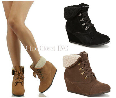 Women High Heel Wedge Booties Cuffed Ankle Lace Up Combat Fl
