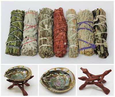 Abalone Shell, Stand & 7 Sage Smudge Sticks COMPLETE SAMPLER KIT (Cleansing)