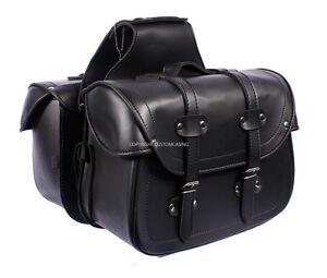 LEGEND Black Motorcycle Motorbike Panniers Biker Cruiser Leather Saddle bag