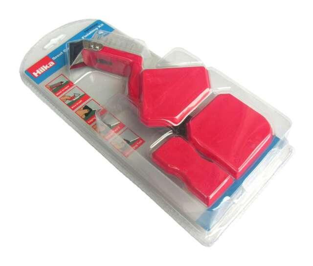 CAULK TOOL KIT 4PC 8 FINISHING EDGES Tile Smooth Sealant/Silicone/Grout Rake Set