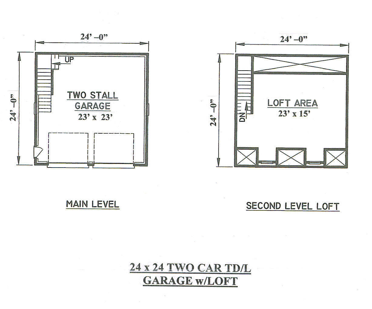 24x24 2 car tdormer ld interior loft stairs garage for 24x24 house plans with loft