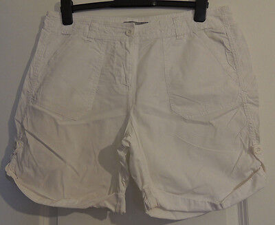 M&S Marks & Spencers - Cotton White Shorts With Pockets Runched Hem Detail - 14