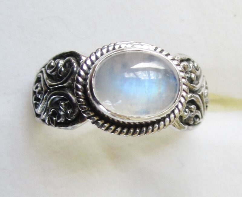 Rainbow Moonstone Ring in 925 Sterling Silver,  size 8