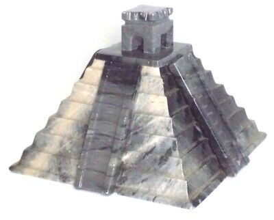 Decorations In Mexico (Marble Stone Mayan Aztec Pyramid, Decorative Gray, 5 inch tall, Made in)