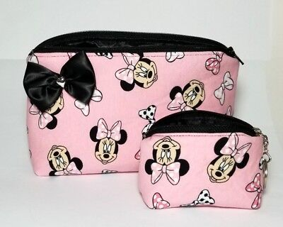 Minnie Mouse makeup bag. Black bow. Travel pink. Heart. Cute Coin purse keychain Bow Cosmetic Bag Handbag