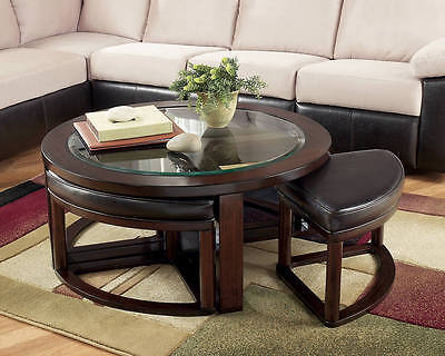 Ashley Furniture Cocktail Table With 4 Stools Marion Dark Brown T477 8 Set Of 5