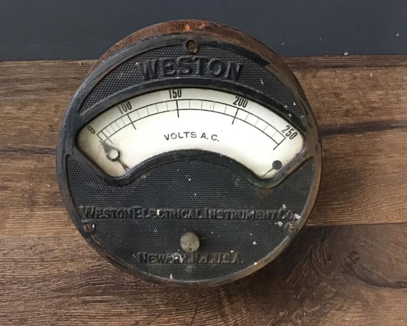 Antique WESTON ELECTRICAL INSTRUMENT Co Large Volts Gauge NEWARK NJ USA