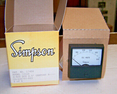 Simpson Analog Panel Meter Model 2122 0-500 Dc Volts