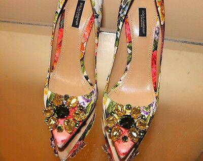 *New* Dolce & Gabbana Floral Print Pump With Swarovski Embellishments