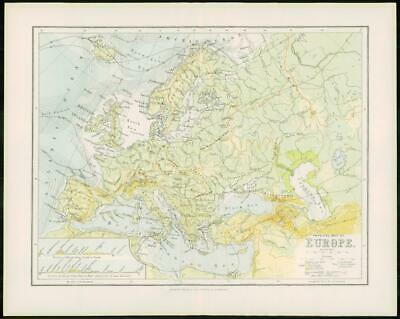 1903 Original Antique Colour Map - EUROPE Physical Map (5)