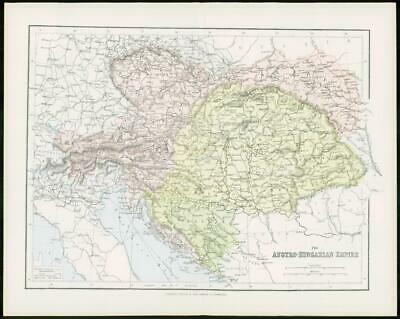 1903 Original Antique Colour Map - AUSTRO HUNGARIAN EMPIRE Bosnia Bohemia (17)