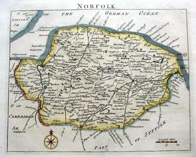 NORFOLK NORWICH LYNN GREAT YARMOUTH  BY JOHN ROCQUE GENUINE ANTIQUE MAP  c1769