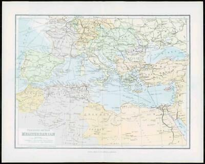 1903 Original Antique Colour Map - MEDITERRANEAN CYPRUS CRETE Sea Basin  (12)