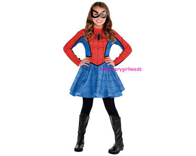2pc NEW MARVEL SPIDER-GIRL Costume Long Sleeve DRESS Face MASK SET CHILD L 12-14 - Marvel Spider Girl Costume