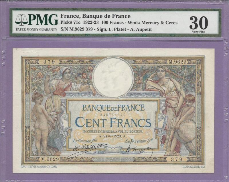 France, Banque de France  1922-23  100 Francs  pick # 71c  PMG