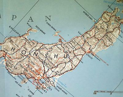 JAPAN MAP & AREA STUDY GUIDE #7  U.S. ARMY  1964 VINTAGE VIETNAM WAR ERA