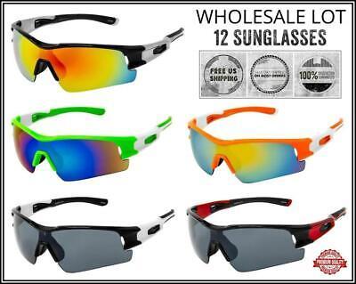 WHOLESALE LOT Men Sport Wrap Around Cycling Fishing Golfing SUN GLASSES 12 (Polycarbonate Glasses Wholesale)
