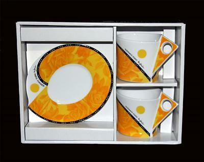4 Pc NAREMOA White Yellow Roses MOD Triangle Handles Cups & Oval Saucers NIB  (Oval Cups & Saucers)