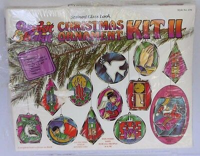 Vintage 1980 Makit and Bakit Stained Glass Look Christmas Ornament Kit II