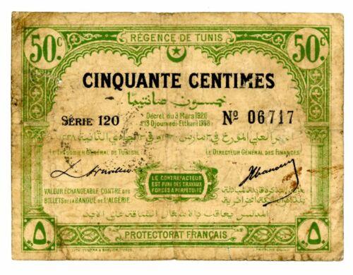 Tunisia ... P-48 ... 50 Centimes ... 3.3.1920 ... *F+*