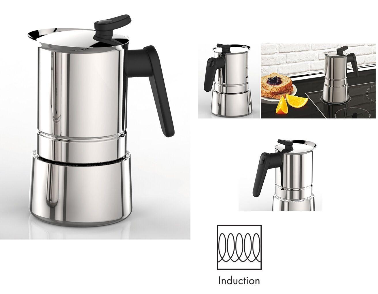 PEDRINI CAFFETTIERA STEEL ACCIAIO INOX 18/10 INDUZIONE MOKA 2 4 6 10 TAZZE CAFFE