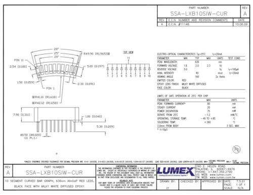 Lumex SSA-LXB10SIW-CUR LED Bars and Arrays 10 Seg Cur Bar Graph Red Black Face