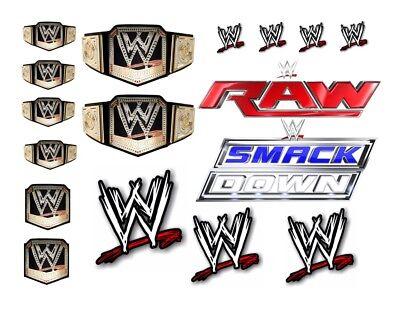 A4 WRESTLING WWE SMACK DOWN RAW BELTS MIX EDIBLE FONDANT WAFER CAKE TOPPER