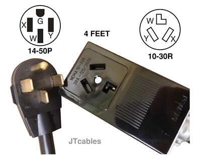 14-50P 4 PRONG RANGE PLUG TO 10-30R 3 PRONG DRYER ADAPTER. 250V 40A. (3 Prong To 4 Prong Range Adapter)