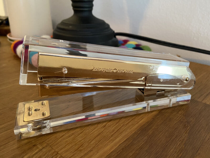 Kate Spade New York Gold & Clear Acrylic Desk Stapler | Office Accessories
