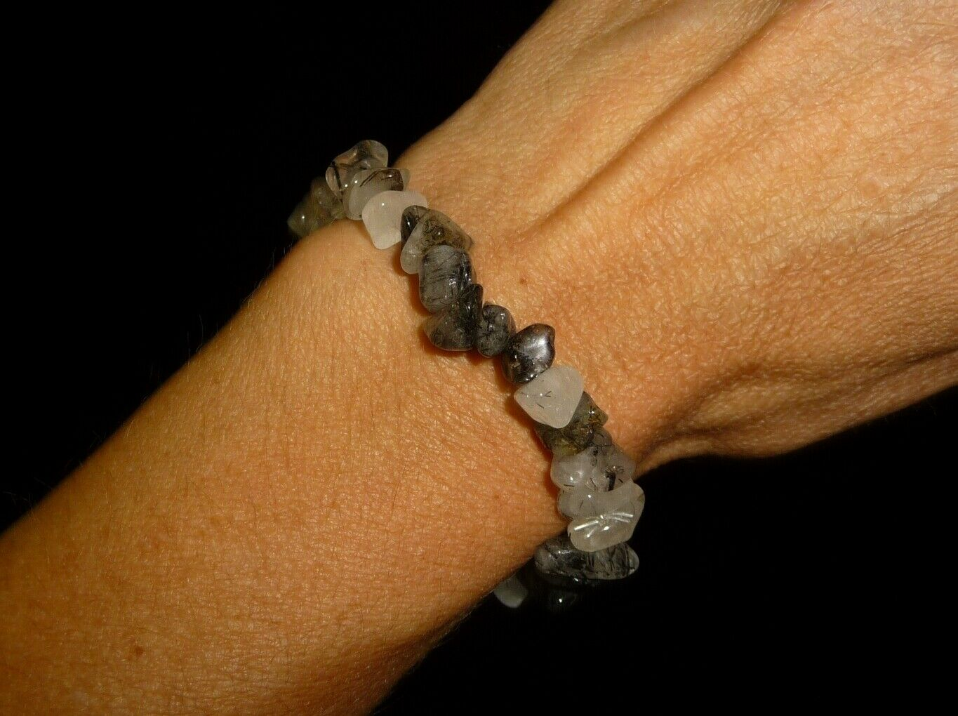 Black Tourmaline & Quartz Crystal Gemstone Beaded Bracelet Brazil 18 gr Dino