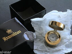 BNIB! - HAMILTON WATCH CO - HINGED TOP, POLISHED SOLID BRASS QUARTZ DESK CLOCK
