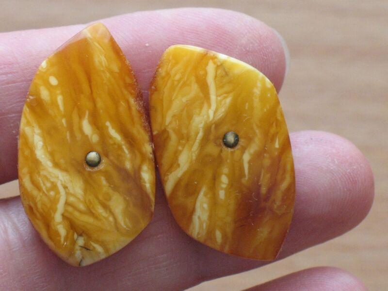 Russian Cufflinks Badge Button Soviet Jewelry Jewel Amber Yellow Antique Egg VTG