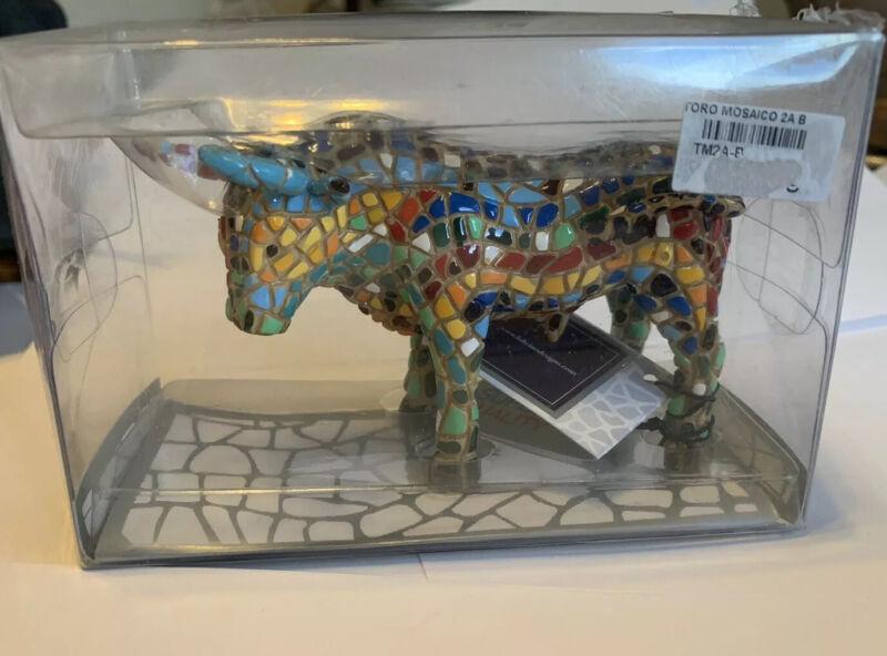 Toro Barcino Mosaico Bull Figurine Sculpture New
