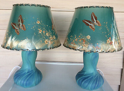 Pair Van Briggle Pottery Ming Blue Lotus Lamps W/ Orig Butterfly Shade