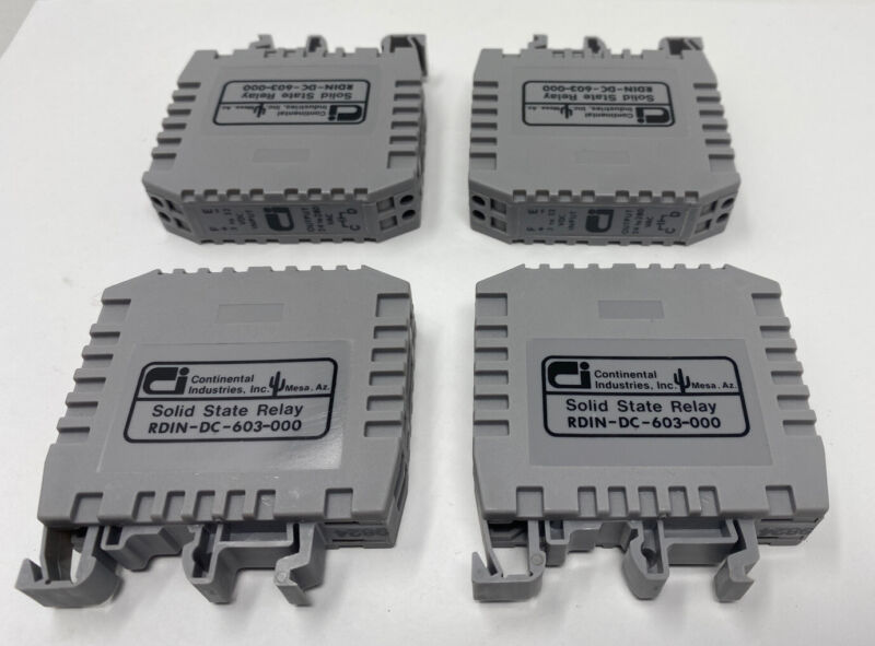 Lot of 4 Continental Industries RDIN-DC-603-000 Solid State DIN Rail Mount Relay