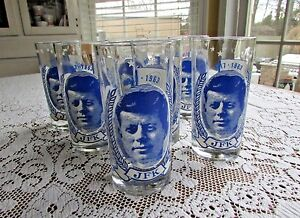 Vintage JFK Drinking Glasses Tea~Water #7  PT 109 Ask Not What Your Country
