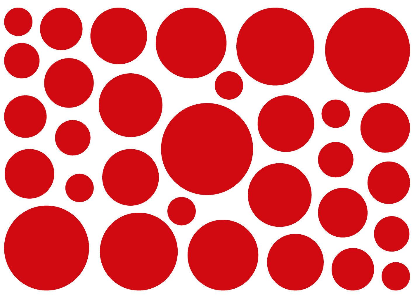 KREISE AUFKLEBER Deko Sticker Retro Kreis Punkte Wandtattoo Rund Möbel Fenster