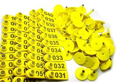 Us Stock 100x Yellow 001-100 Number Plastic Livestock Ear Tag For Goat Sheep