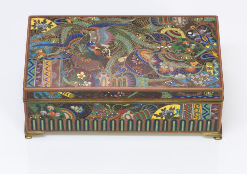 Japanese Antique Meiji Cloisonne Brass Box