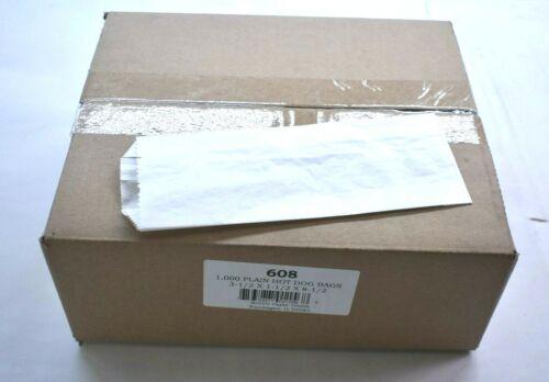 "1,000 Pack Plain Hot Dog Bags White 3.5"" x 1.5"" x 8.5"" Brown Paper Goods Bulk"