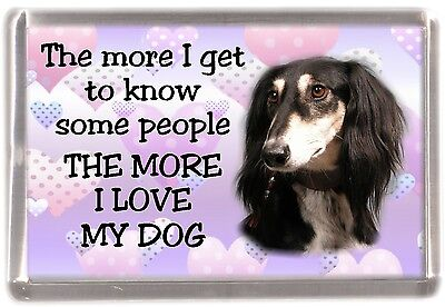 "Saluki Dog Fridge Magnet ""THE MORE I LOVE MY DOG"" No 2 by Starprint"