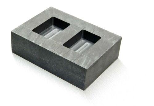 Graphite Ingot Mold 100 Gram 2 Cavity Machined Make Gold Silver Bars Melting Kit