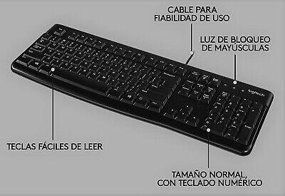 Teclado Logitech K120 Español Negro con Cable USB QWERTY Letra Ñ Plug...