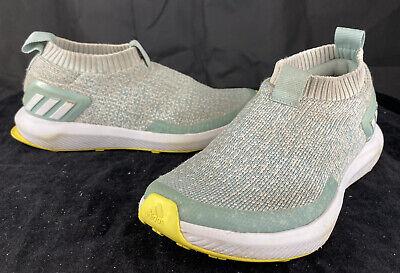 Girls ADIDAS RAPIDA RUN Mint Green Laceless Knit Running Shoes SIZE 3